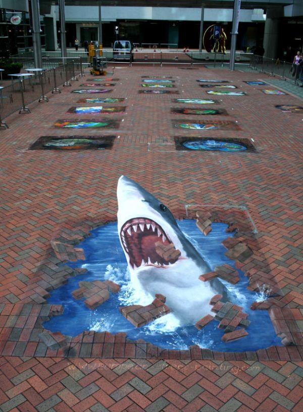 Die besten 100 Bilder in der Kategorie strassenmalerei: Straßenmalerei, Hai