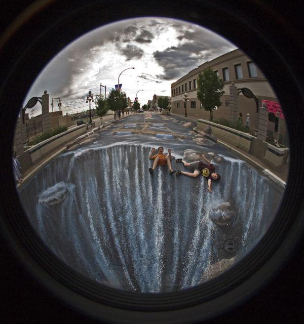 Die besten 100 Bilder in der Kategorie strassenmalerei: Straßenmalerei, Wasserfall