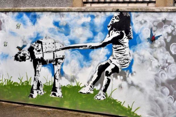 Die besten 100 Bilder in der Kategorie graffiti: Starwars-Hund-Graffiti