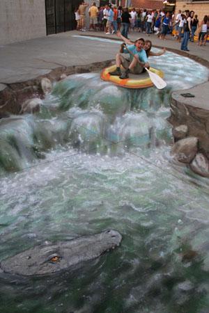 Die besten 100 Bilder in der Kategorie strassenmalerei: Straßenmalerei - Rafting