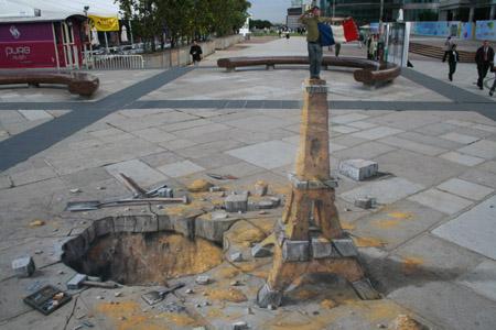 Die besten 100 Bilder in der Kategorie strassenmalerei: Paris-Eifelturm-Straßenmalerei