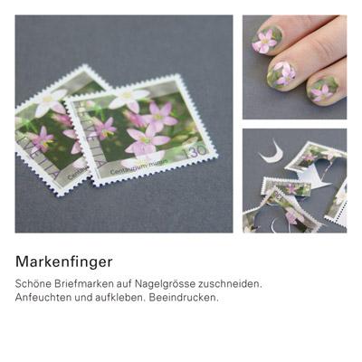 Die besten 100 Bilder in der Kategorie clever: markenfinger - Schöne Briefmarken auf Nagelgrösse zuschneiden. Anfeuchten und aufkleben.
