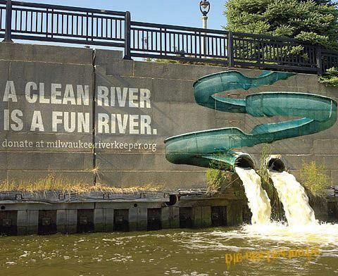 Die besten 100 Bilder in der Kategorie strassenmalerei: A clean river is a fun river.