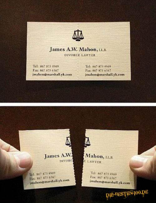 Die besten 100 Bilder in der Kategorie werbung: Scheidungsanwalt Visitenkarte mit Perforation