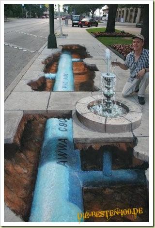 Die besten 100 Bilder in der Kategorie strassenmalerei: Brunnen und Wasserleitung