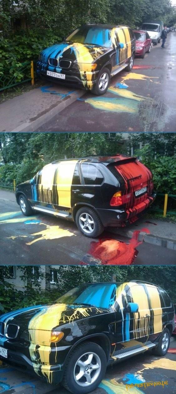 Die besten 100 Bilder in der Kategorie shit_happens: Farbe über fetten BMW