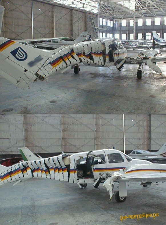 Die besten 100 Bilder in der Kategorie shit_happens: Flugzeug in Scheiben
