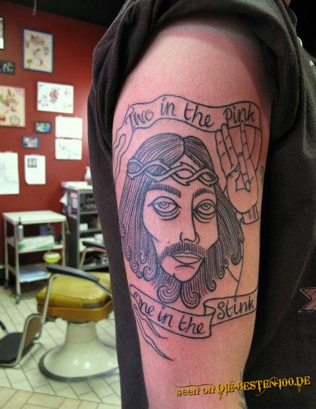Shocker Jesus Tattoo - Two in the pink, one in the stink