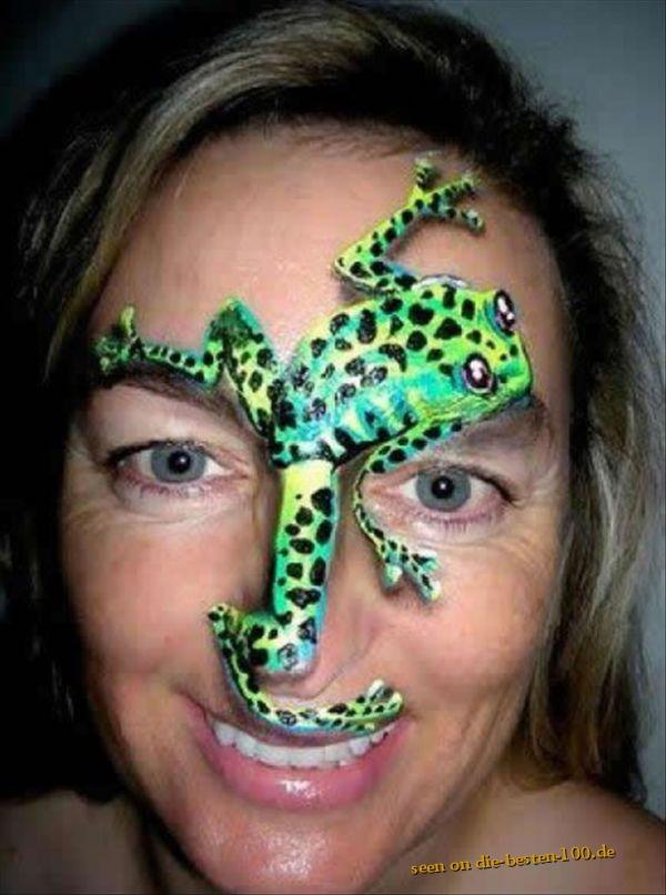 Die besten 100 Bilder in der Kategorie bodypainting: Frosch-Gesicht - Froggy face