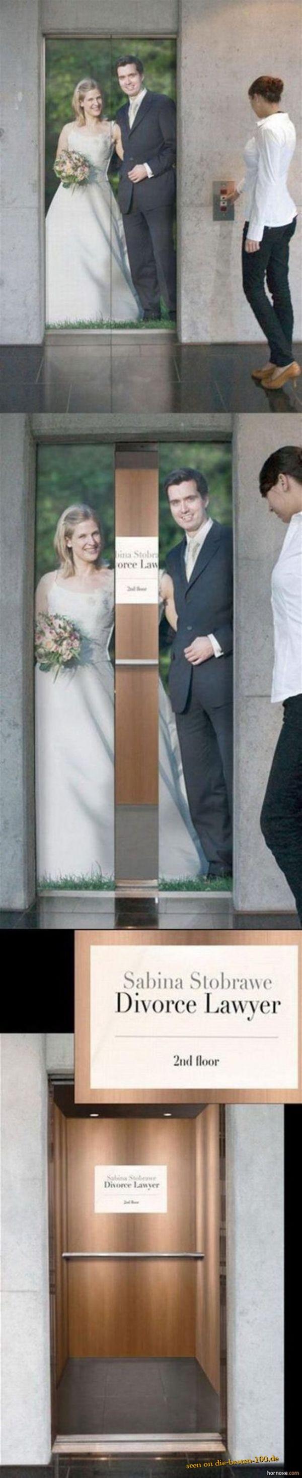 Die besten 100 Bilder in der Kategorie werbung: Scheidungsanwalts-Werbung auf Fahrstuhltüre - Divorce Lawyer Commercial