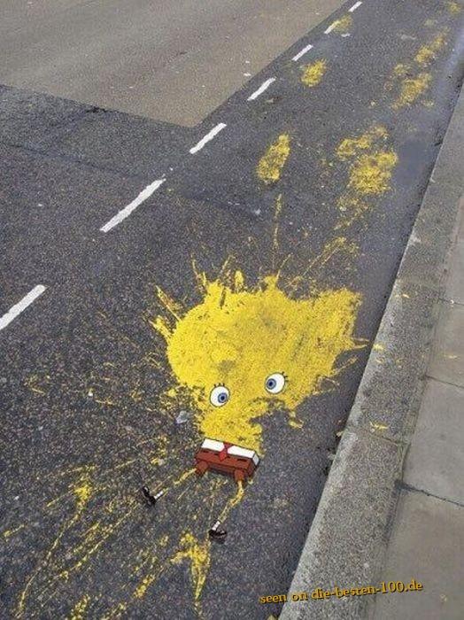 Die besten 100 Bilder in der Kategorie kunst: Sponge-Bob auf offener Straße überfahren