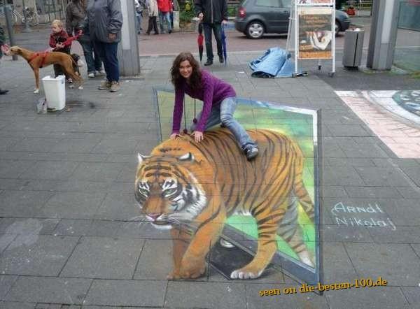 Die besten 100 Bilder in der Kategorie strassenmalerei: 3D Tiger STraßenmalerei-Kunst - amazing Street Painting