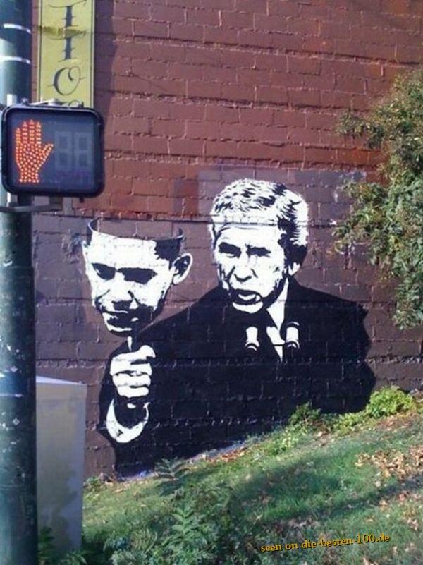 Die besten 100 Bilder in der Kategorie graffiti: Bush mit Obama-Maske Graffitti