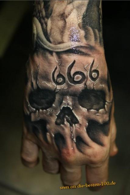Horror Tattoos Cooles Teuflisches 3d Skull Tattoo 666 Die Besten