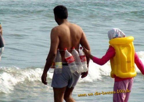 Die besten 100 Bilder in der Kategorie clever: Improvisierter Schwimmring aus Plastikflaschen