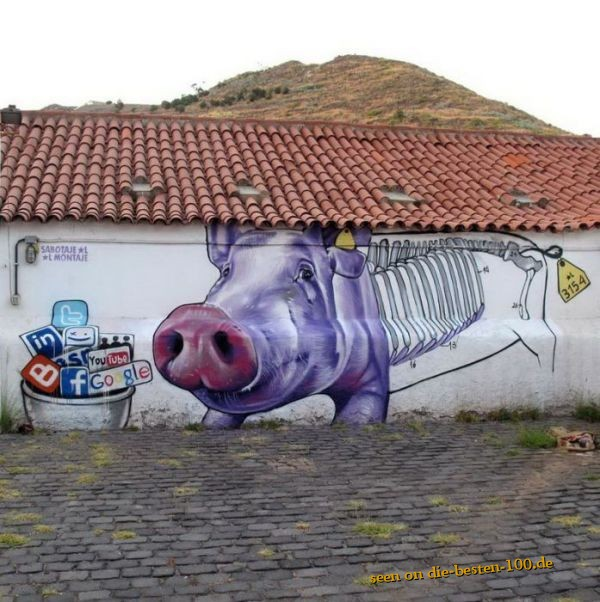 Die besten 100 Bilder in der Kategorie graffiti: Social Network Pig