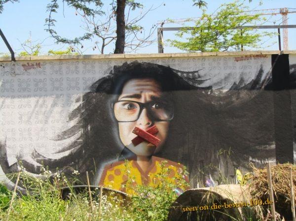Die besten 100 Bilder in der Kategorie graffiti: Fresse halten - Portugisischer Protest