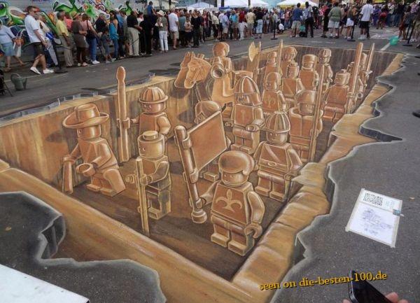 Die besten 100 Bilder in der Kategorie strassenmalerei: Schöne Lego 3D Straßenmalerei