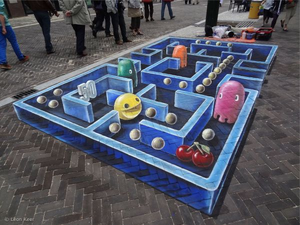 Die besten 100 Bilder in der Kategorie strassenmalerei: 3D Pacman Straßenmalerei Kunst