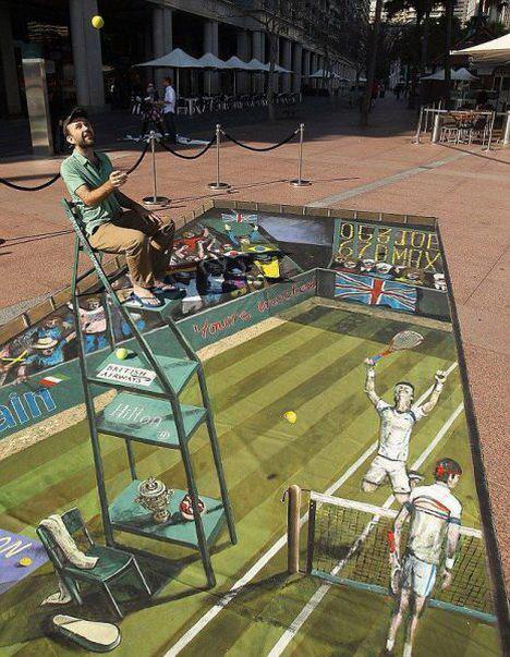 Die besten 100 Bilder in der Kategorie strassenmalerei: 3D Unterirdischer Tennisplatz