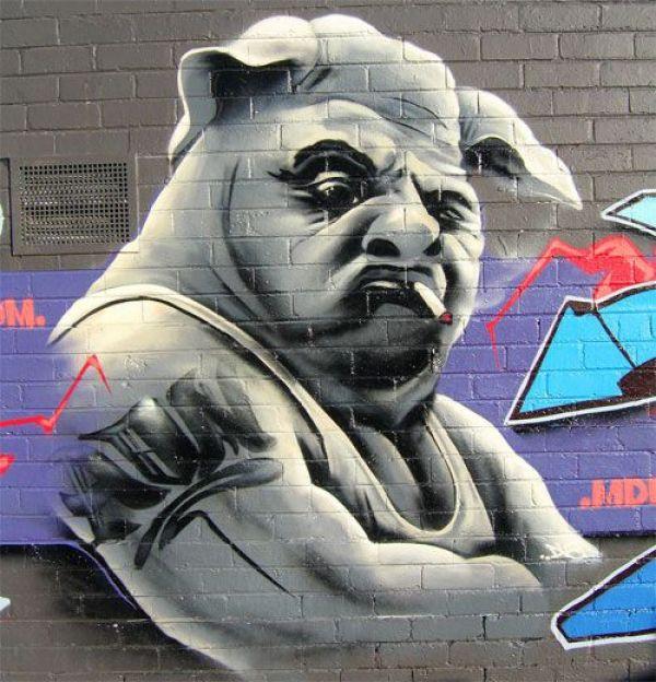 Die besten 100 Bilder in der Kategorie graffiti: Schweine Mensch