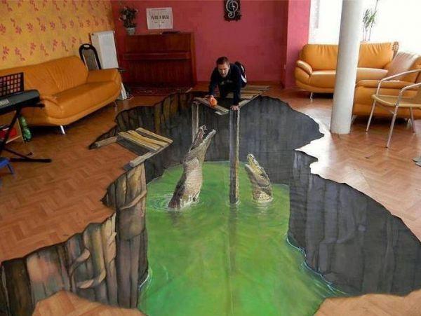 Die besten 100 Bilder in der Kategorie strassenmalerei: Krokodile im Wohnzimmer