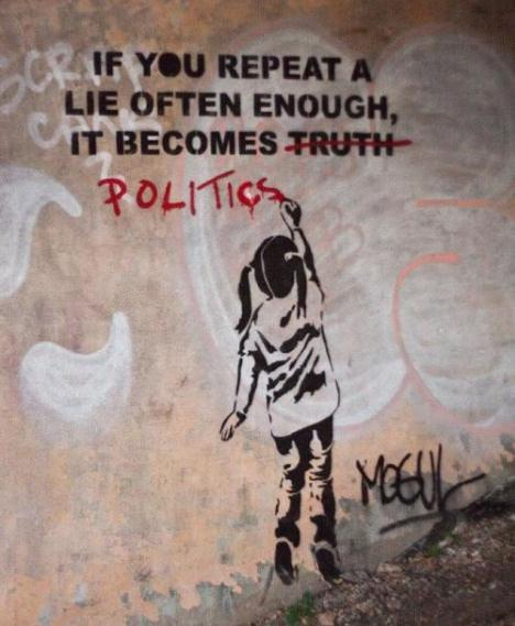 Die besten 100 Bilder in der Kategorie graffiti: If you repeat a lie often enough, it becomes politics
