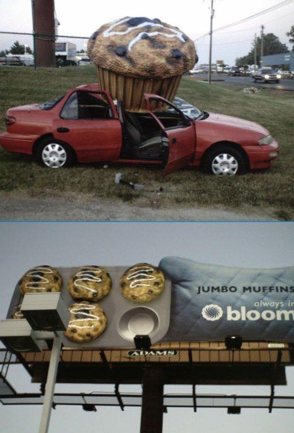 Die besten 100 Bilder in der Kategorie werbung: Lustige Jumbo Muffin Werbung