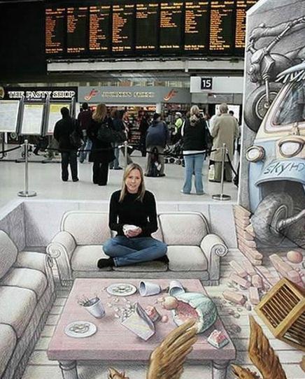 Die besten 100 Bilder in der Kategorie strassenmalerei: Flughafen Wohnzimmer