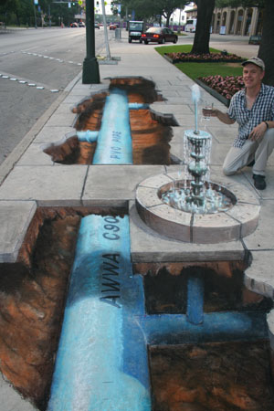 Die besten 100 Bilder in der Kategorie strassenmalerei: 3D Gehweg Springbrunnen Street Art