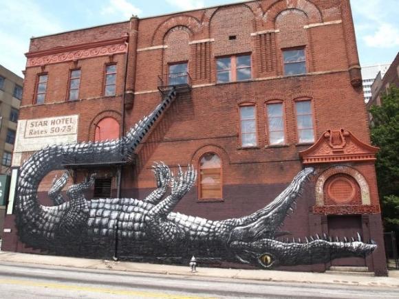 Die besten 100 Bilder in der Kategorie graffiti: Krokodil Haus Grafitti