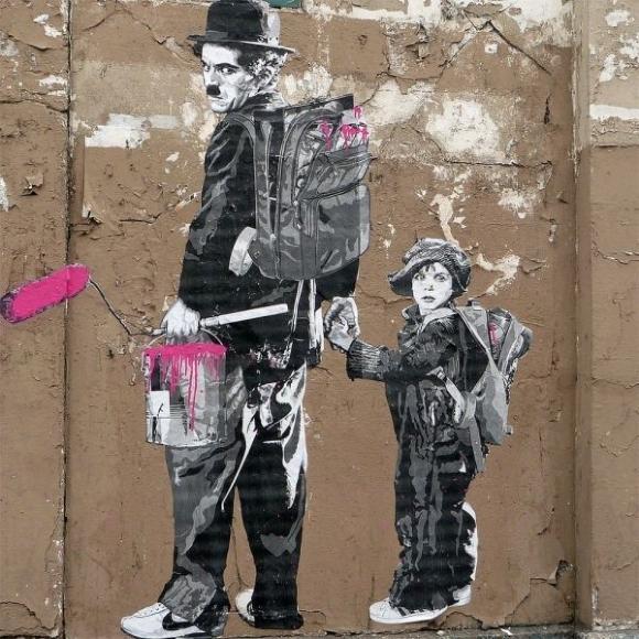 Die besten 100 Bilder in der Kategorie graffiti: Charly Chaplin - Grafitti