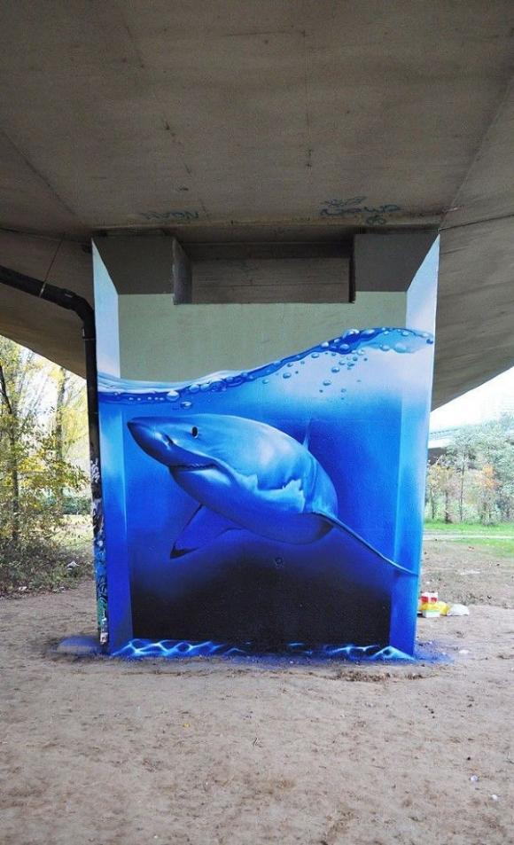 Die besten 100 Bilder in der Kategorie graffiti: Big White Shark Grafitti