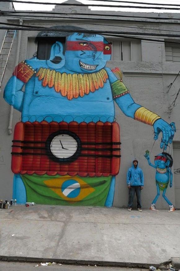 Die besten 100 Bilder in der Kategorie graffiti: Südamerikanischer Indianer mit Sprengstoffgürtel Grafitti