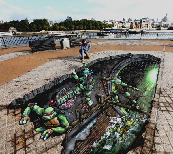 Die besten 100 Bilder in der Kategorie strassenmalerei: Ninja Turtles Street Art