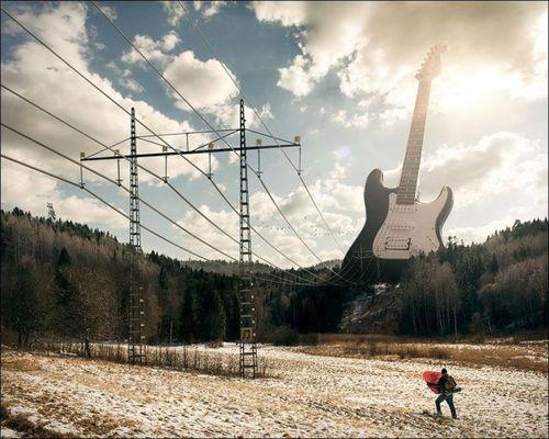 Die besten 100 Bilder in der Kategorie photoshops: Stromleitung als Gitarrensaiten E-Gitarre
