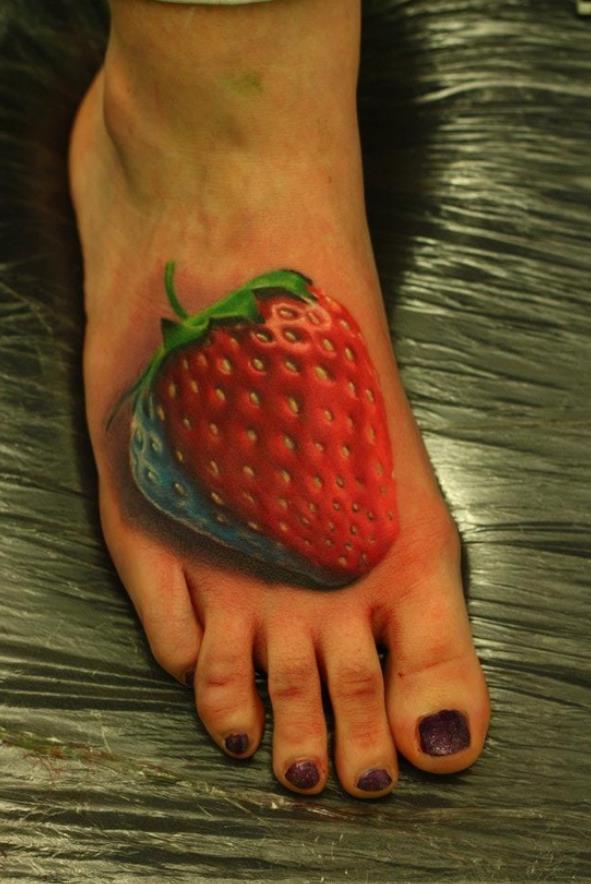 Tattoos 3d Erdbeer Tattoo Auf Fußrücken Die Besten 100 Bilder In