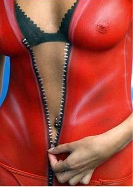 Die besten 100 Bilder in der Kategorie bodypainting: Hautenger Anzug mit Reissverschluss und Dessous BH