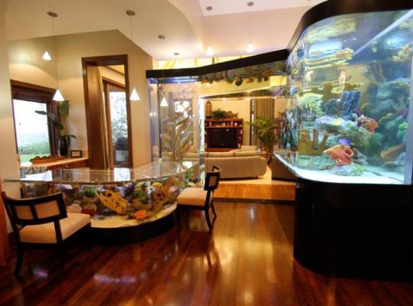 Aquarium Wohnzimmer Mit Aquarium Esstisch Und Apquarium Decke