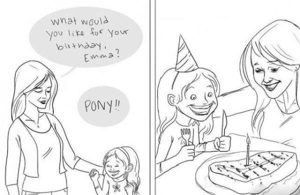 Birthday, black humor, Pony, eat