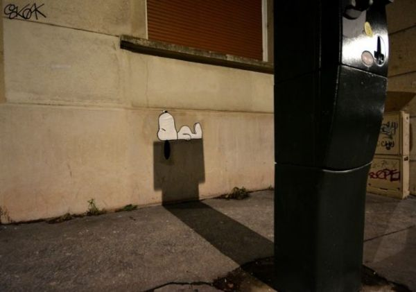 Die besten 100 Bilder in der Kategorie graffiti: Snoopy, Hundehütte, Schatten