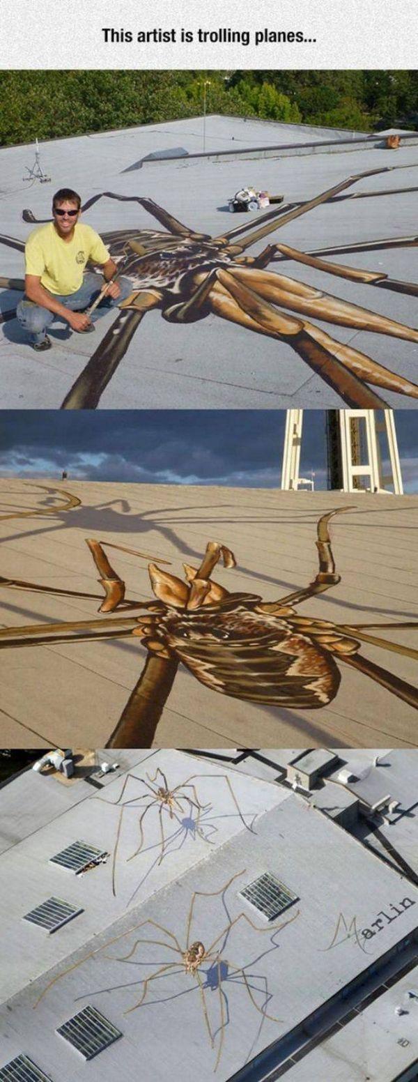 Die besten 100 Bilder in der Kategorie strassenmalerei: Spinnen, 3D, Dach, Kunst, Schatten, Flugzeuge