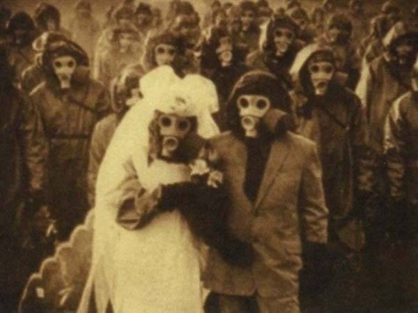 Gas mask, war, wedding, gas