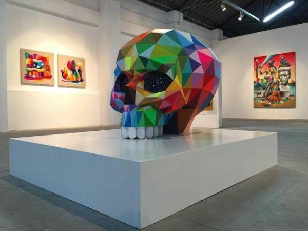Die besten 100 Bilder in der Kategorie kunst: Totenkopf, eckig, bunt, Kunst