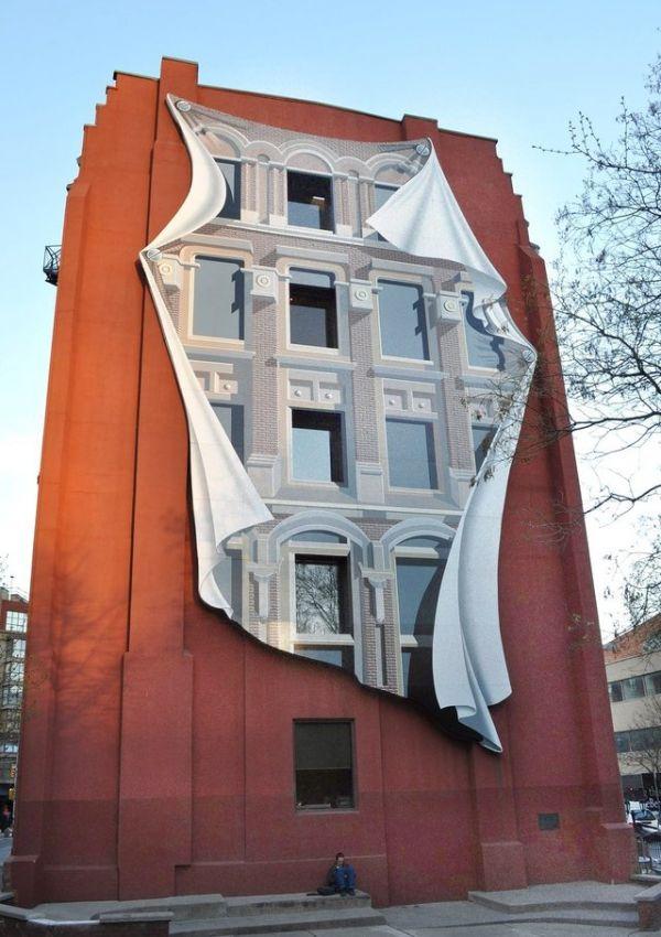 Die besten 100 Bilder in der Kategorie graffiti: Haus, optische Täuschung, Grafitti, 3D, Schatten, Fassade