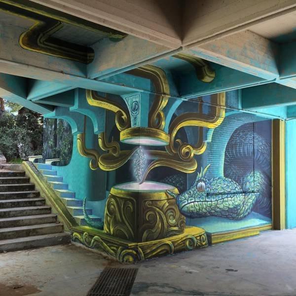 Die besten 100 Bilder in der Kategorie graffiti: Fantasie, Grafitti, Schlange, optische Täuschung