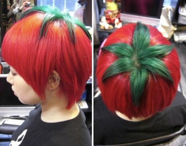 Tomatoes, hairstyle, red
