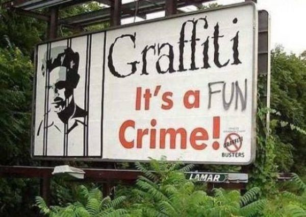 Grafitti, fun, sign, crime