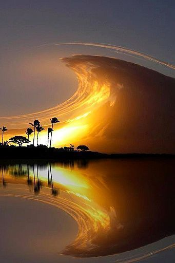 Clouds, nature, colorful, wave