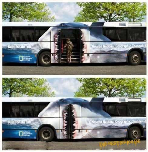 Die besten 100 Bilder in der Kategorie werbung: Weisser Hai auf Bus - Werbung